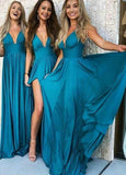 V-Neck A-Line Floor Length Bridesmaid Dress with Split PDB002