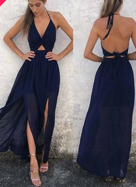 Halter Neck Backless Sexy Long Prom Dress PDP0118