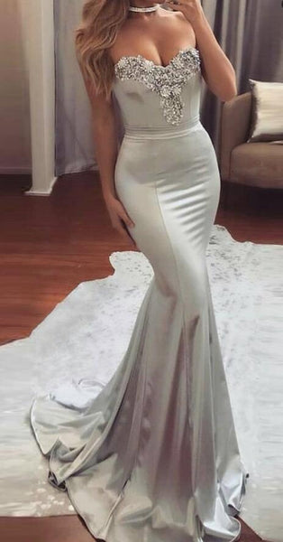 Sweetheart Mermaid Long Prom Dress with Beading Fashion Wedding Party Dress PDP0121