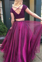 V-neck Two Pieces Long Prom Dress with Beading Fashion Wedding Party Dress PDP0122