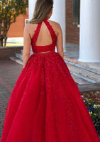 Two Pieces High Neck Long Prom Dress with Applique and Beading,Fashion School Dance Dress PDP0146