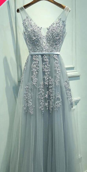 V-neck Tulle Long Prom Dress with Applique and Beading,Fashion School Dance Dress PDP0147