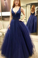 Open Back Long Prom Dress With Beading,Fashion Dance Dress,Sweet 16 Dress PDP0196
