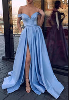 Off Shoulder Long Prom Dress with Slit,Fashion Dance Dress,Sweet 16 Dress PDP0201