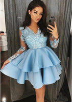 V-neck Homecoming Dress With Applique and Beading, Popular Short Prom Dress ,Fashion Dancel Dress PDH0015