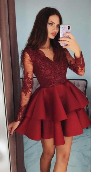 Long Sleeves Homecoming Dress With Applique and Beading, Popular Short Prom Dress ,Fashion Dancel Dress PDH0019