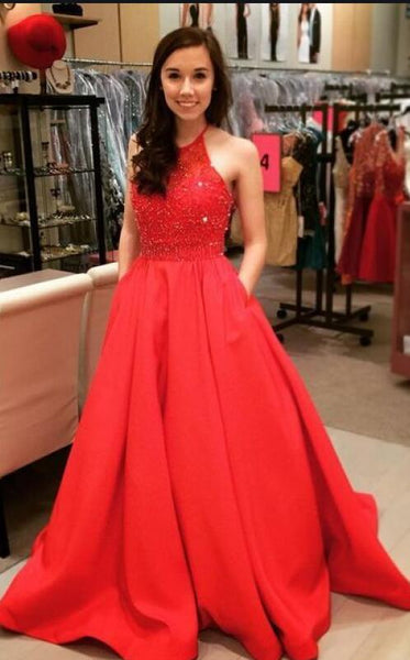 A-line Long Prom Dress with Beading,Fashion Dance Dress,Sweet 16 Quinceanera Dress PDP0268