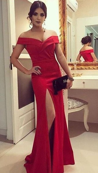 Off Shoulder Long Prom Dress with Slit,Fashion Dance Dress,Sweet 16 Quinceanera Dress PDP0272