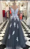 A-line Long Prom Dress with Applique and Beading,Fashion Dance Dress,Sweet 16 Quinceanera Dress PDP0290
