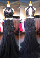 Two Pieces Mermaid Long Prom Dress with Applique and Beading,Fashion Dance Dress,Sweet 16 Quinceanera Dress PDP0293
