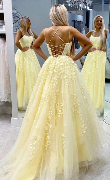 Yellow Tulle Long Prom Dress with Applique,Fashion Dance Dress,Sweet 16 Quinceanera Dress PDP0313