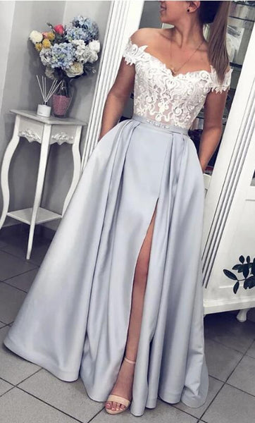 Off Shoulder Long Prom Dress with Applique,Fashion Dance Dress,Winter Formal Dress PDP0326