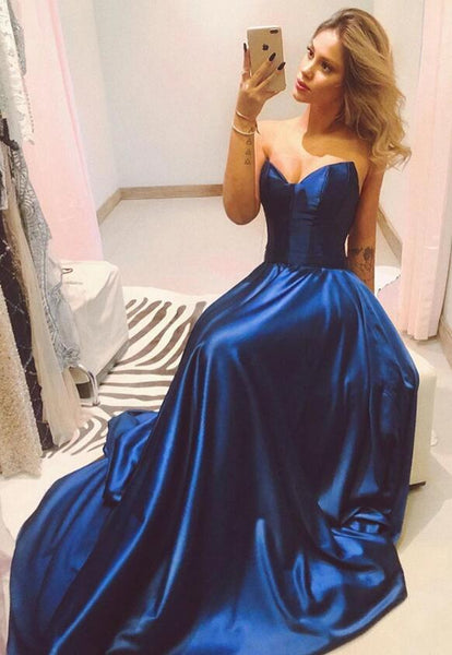 Strapless Simple A Line Long Prom Dresses,Fashion School Dance Dress,Winter Formal Dress PDP0335