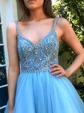 A-line Long Prom Dresses with Beading,Fashion School Dance Dress,Winter Formal Dress PDP0339