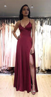 Sexy A line Long Prom Dress with Slit,Fashion School Dance Dress,Winter Formal Dress PDP0361