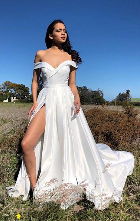 Off shoulder White Long Prom Dress with Slit Fashion School Dance Dress Sweet 16 Quinceanera Dress PDP0378