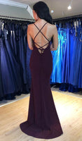 V-neck Mermaid Long Prom Dresses 8th Graduation Dress School Dance Winter Formal Dress PDP0469