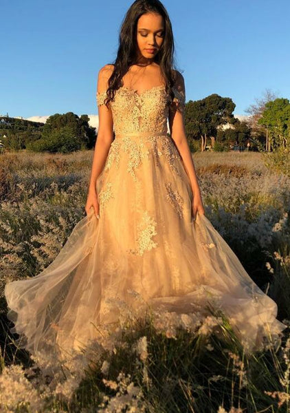 Off Shoulder Tulle Long Prom Dress with Applique and Beading,Fashion School Dance Dress,Winter Formal Dress PDP0355