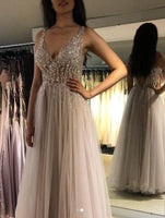 V-neck Long Prom Dress with Beading,Fashion School Dance Dress,Winter Formal Dress PDP0356