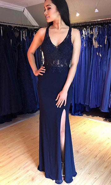 Mermaid Long Prom Dress with Applique and Beading,Fashion School Dance Dress,Winter Formal Dress PDP0344
