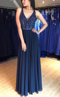 A line Long Prom Dress with Beading,Fashion School Dance Dress,Winter Formal Dress PDP0359