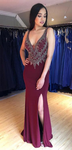 Sexy Mermaid Long Prom Dress with Beading,Fashion School Dance Dress,Winter Formal Dress PDP0358