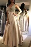 V-back Long Prom Dress with Beading,Fashion School Dance Dress,Winter Formal Dress PDP0357