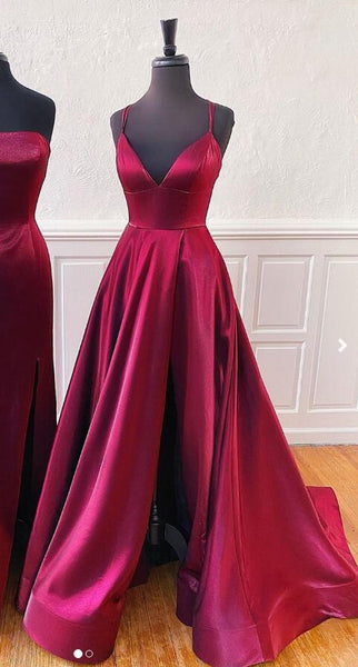 V-neck Prom Dresses with Lace up Back Simple Long Prom Dress 8th Graduation Dress Formal Dress PDP0548