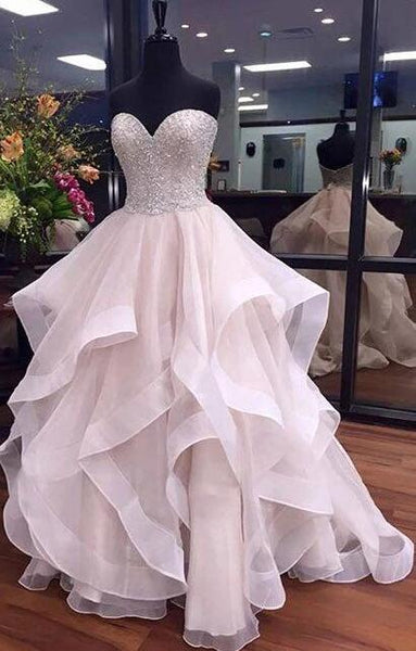 Sweetheart Ball Gown Long Prom Dress With Beading,Fashion School Dance Dress Sweet 16 Quinceanera Dress PDP0382