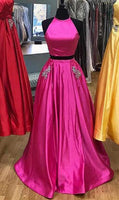 Two Pieces Long Prom Dresses Fashion School Dance Dress Winter Formal Dress PDP0425