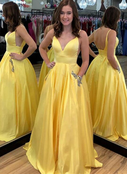 Yellow Sexy Long Prom Dresses Fashion School Dance Dress Winter Formal Dress PDP0440