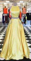 Two Pieces Long Prom Dresses Fashion School Dance Dress Winter Formal Dress PDP0442