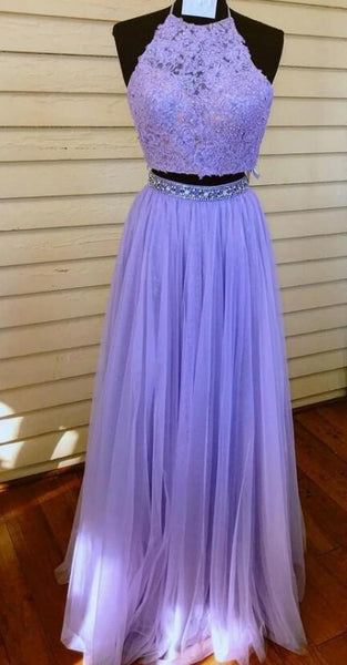 Two Pieces Long Prom Dresses With Applique and Beading Fashion School Dance Dress Winter Formal Dress PDP0453
