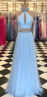 Two Pieces Long Prom Dresses With Beading Fashion School Dance Dress Winter Formal Dress PDP0455