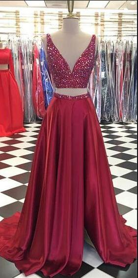 Two Pieces Long Prom Dresses With Beading Fashion School Dance Dress Winter Formal Dress PDP0456