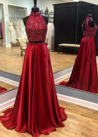 Two Pieces Long Prom Dresses With Beading Fashion School Dance Dress Winter Formal Dress PDP0457