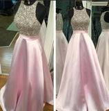 A-line Long Prom Dresses With Beading Fashion School Dance Dress Winter Formal Dress PDP0433