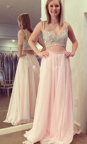 Two Pieces Long Prom Dresses With Beading Fashion School Dance Dress Winter Formal Dress PDP0434