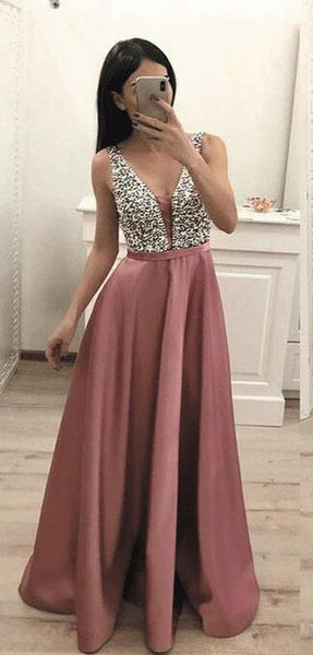 Long Prom Dresses With Beading Fashion School Dance Dress Winter Formal Dress PDP0437