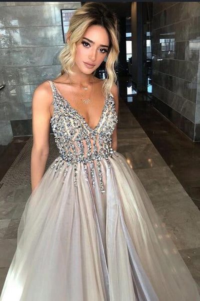 Sexy Long Prom Dresses With Beading Fashion School Dance Dress Winter Formal Dress PDP0438