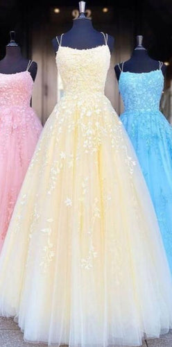 2020 Yellow Long Prom Dresses with Applique and Beading 8th Graduation Dress School Dance Winter Formal Dress PDP0483