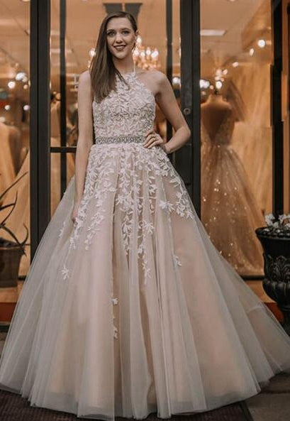 2020 Long Prom Dresses with Applique and Beading 8th Graduation Dress School Dance Winter Formal Dress PDP0508