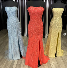 Load image into Gallery viewer, Strapless Mermaid Prom Dress with Applique and Beading Long Prom Dresses 8th Graduation Dress Formal Dress PDP0585