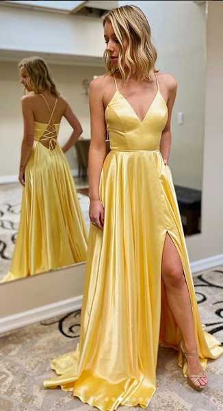 Yellow Simple Prom Dress with Lace up back Long Prom Dresses 8th Graduation Dress Formal Dress PDP0591