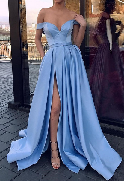 Off Shoulder Prom Dresses with Slit, Long Prom Dress ,Fashion School Dance Dress Formal Dress PDP0667