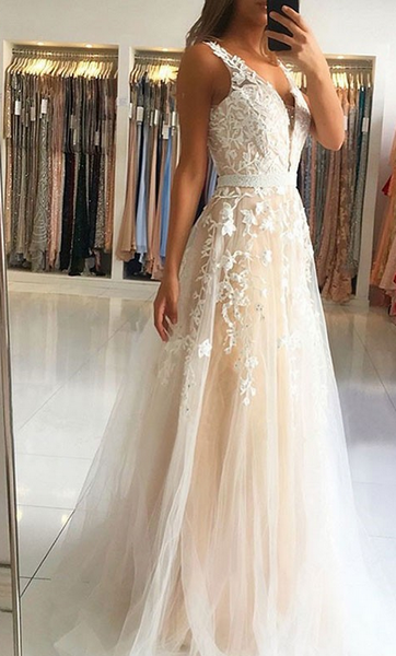 2020 Prom Dresses with Applique and Beading , Long Prom Dress ,Fashion School Dance Dress Formal Dress PDP0674