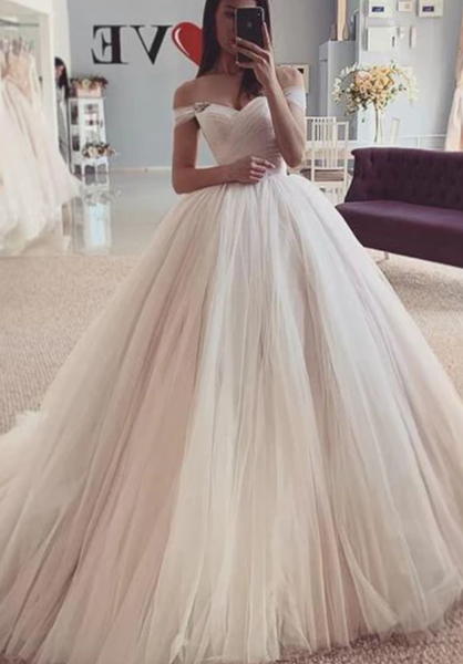 Off Shoulder Ball Gown Tulle Wedding Dress ,Fashion Custom made Bridal Dress ,Quinceanera Dress PDW035