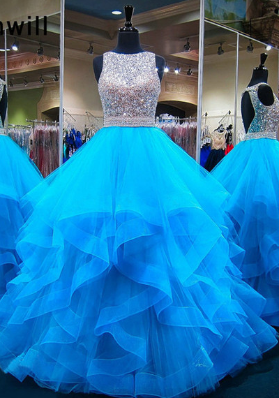 Ball Gown Prom Dresses with Beading ,Long Prom Dress , Sweet 16 Quinceanera Dress PDP0663