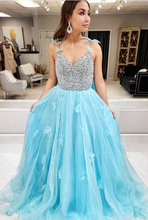 Load image into Gallery viewer, Prom Dresses with Beading, Long Prom Dress ,Fashion School Dance Dress Formal Dress PDP0669