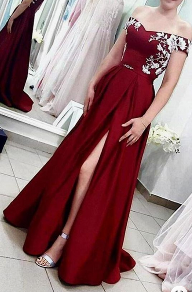 Prom Dresses with Applique, Long Prom Dress ,Fashion School Dance Dress Formal Dress PDP0670